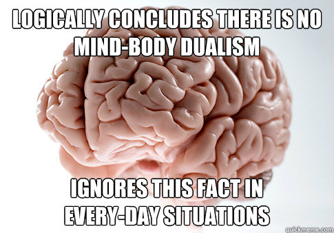 Logically concludes there is no mind-body dualism Ignores this fact in every-day situations - Logically concludes there is no mind-body dualism Ignores this fact in every-day situations  Scumbag Brain