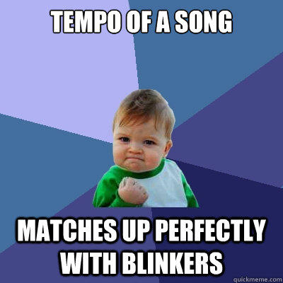 TEMPO OF A SONG MATCHES UP PERFECTLY WITH BLINKERS - TEMPO OF A SONG MATCHES UP PERFECTLY WITH BLINKERS  Success Kid