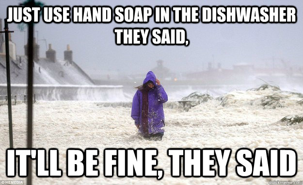 Just Use hand soap in the dishwasher they said, It'll be fine, they said - Just Use hand soap in the dishwasher they said, It'll be fine, they said  foam fail