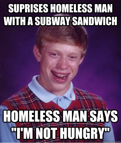 Suprises homeless man with a subway sandwich  Homeless man says