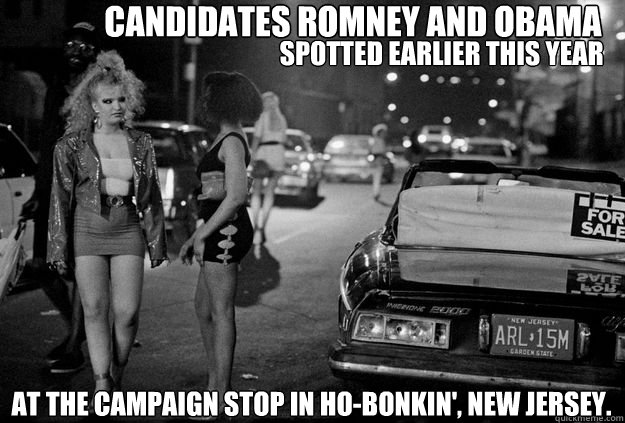 Candidates Romney and Obama Spotted earlier this year  at the campaign stop in ho-bonkin', new jersey.