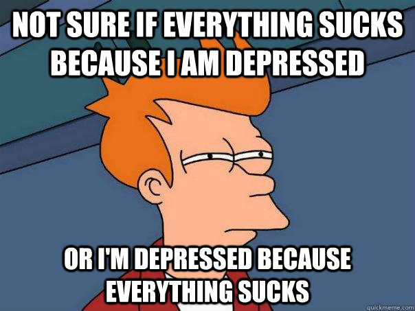 Not sure if everything sucks because I am depressed  Or I'm depressed because everything sucks - Not sure if everything sucks because I am depressed  Or I'm depressed because everything sucks  Futurama Fry
