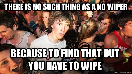 There is no such thing as a no wiper because to find that out you have to wipe - There is no such thing as a no wiper because to find that out you have to wipe  Sudden Clarity Clarence