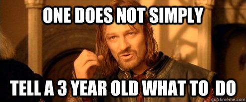 One does not simply Tell a 3 year old what to  do