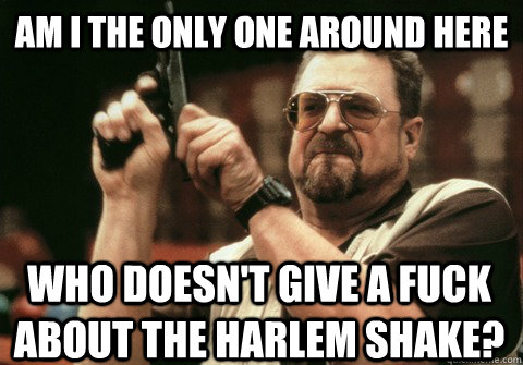 Am I the only one around here who doesn't give a fuck about the Harlem Shake? - Am I the only one around here who doesn't give a fuck about the Harlem Shake?  Am I the only one