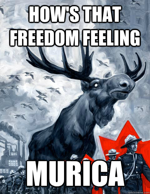 how's that freedom feeling  murica  Vindictive Canadian Moose Overlord