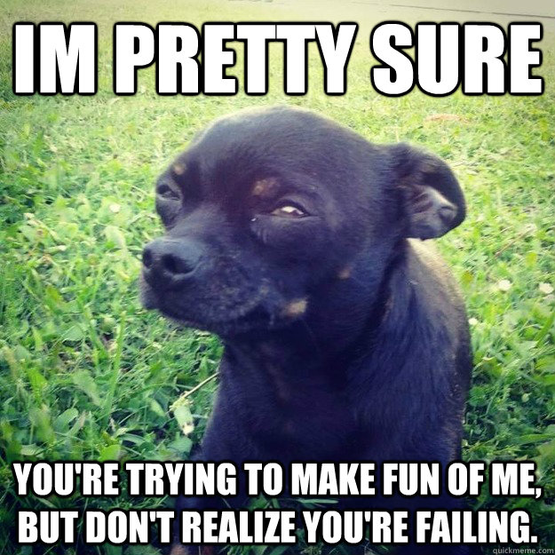 IM PRETTY SURE you're trying to make fun of me, but don't realize you're failing. - IM PRETTY SURE you're trying to make fun of me, but don't realize you're failing.  Skeptical Dog