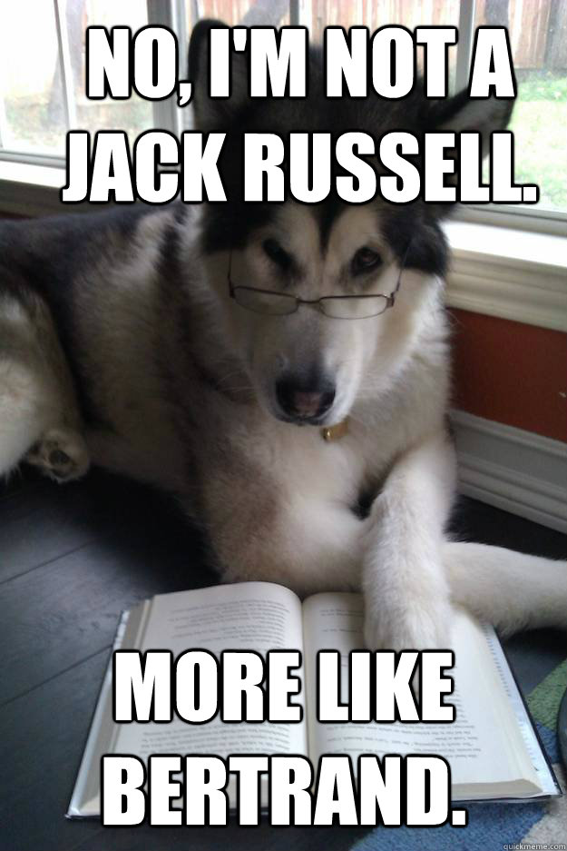 No, I'm not a Jack Russell. More like Bertrand. - No, I'm not a Jack Russell. More like Bertrand.  Condescending Literary Pun Dog