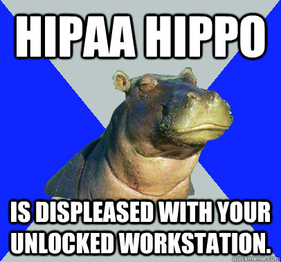 HIPAA HIPPO Is displeased with your unlocked workstation. - HIPAA HIPPO Is displeased with your unlocked workstation.  Skeptical Hippo