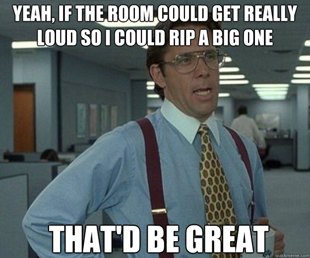 yeah, if the room could get really loud so i could rip a big one that'd be great - yeah, if the room could get really loud so i could rip a big one that'd be great  that would be great