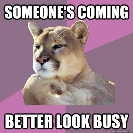 someone's coming better look busy - someone's coming better look busy  Poetry Puma