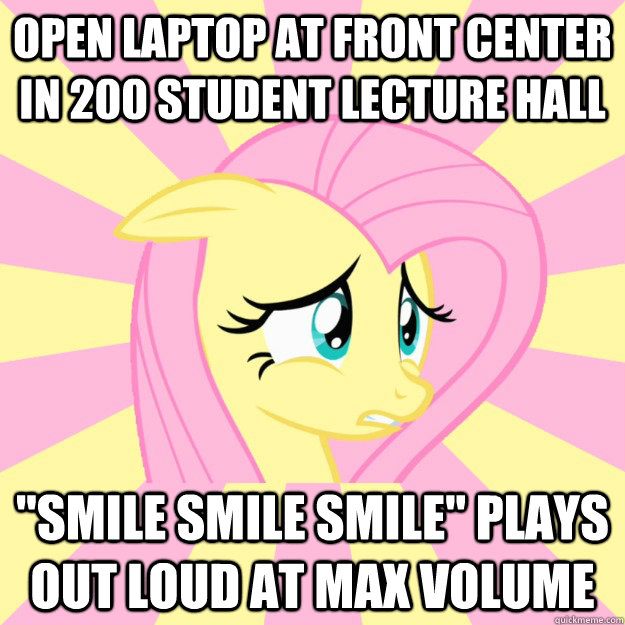 Open laptop at front center in 200 student lecture hall