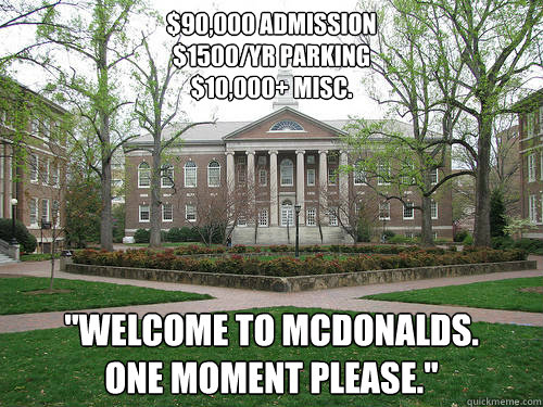 $90,000 admission $1500/yr parking $10,000+ misc.
