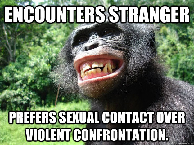 encounters stranger prefers sexual contact over violent confrontation. - encounters stranger prefers sexual contact over violent confrontation.  Misc