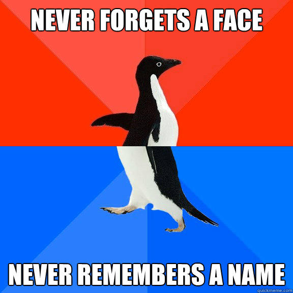 Never forgets a face Never remembers a name - Never forgets a face Never remembers a name  Socially Awesome Awkward Penguin