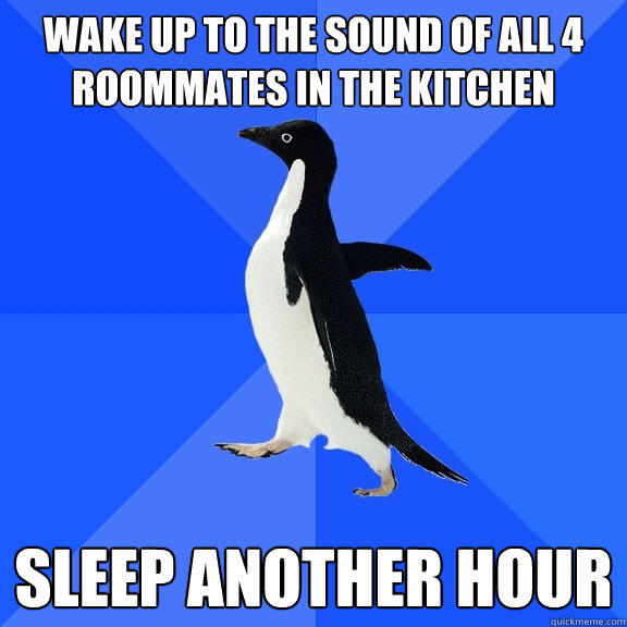 wake up to the sound of all 4 roommates in the kitchen sleep another hour - wake up to the sound of all 4 roommates in the kitchen sleep another hour  Socially Awkward Penguin