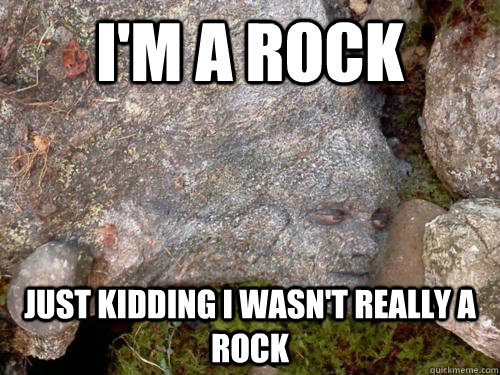 I'm a rock just kidding i wasn't really a rock