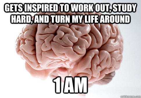 Gets inspired to work out, study hard, and turn my life around 1 Am - Gets inspired to work out, study hard, and turn my life around 1 Am  Scumbag Brain