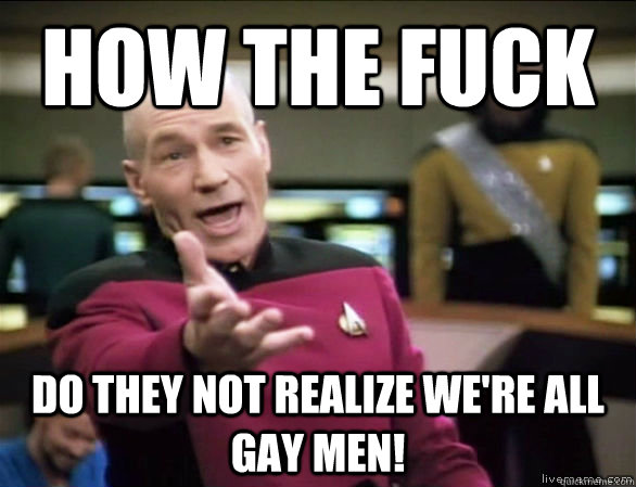 How the fuck do they not realize we're all gay men! - How the fuck do they not realize we're all gay men!  Annoyed Picard HD