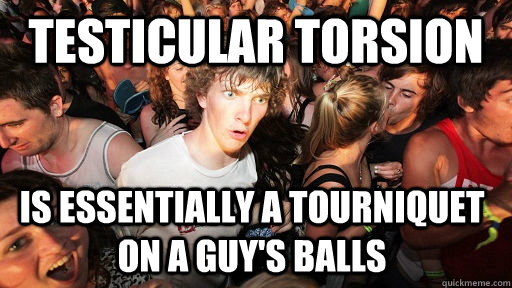 testicular torsion is essentially a tourniquet on a guy's balls - testicular torsion is essentially a tourniquet on a guy's balls  Sudden Clarity Clarence