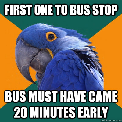 first one to bus stop bus must have came 20 minutes early - first one to bus stop bus must have came 20 minutes early  Paranoid Parrot