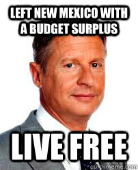 Left New Mexico with a budget surplus Live Free