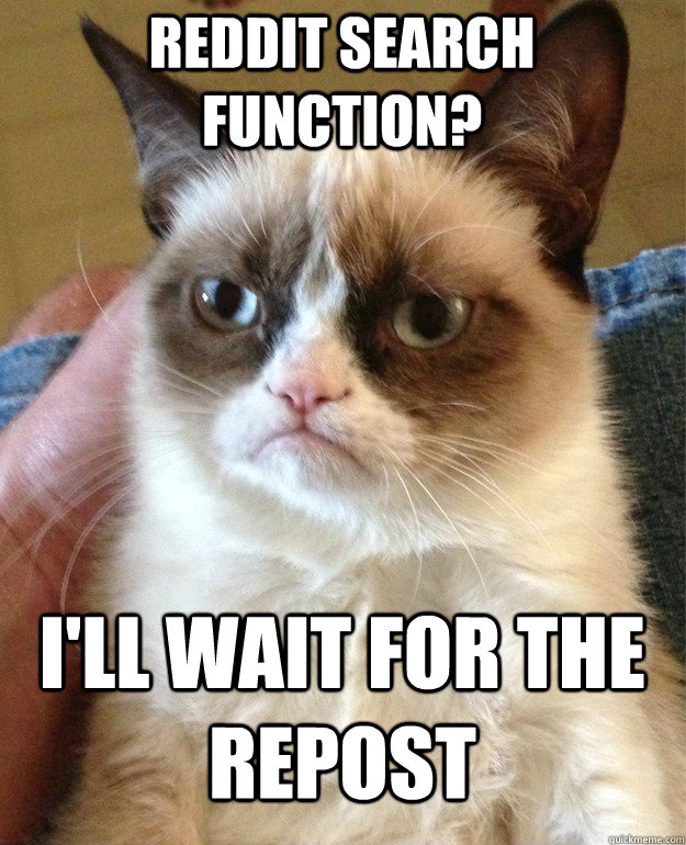 Reddit search function? I'll wait for the repost - Reddit search function? I'll wait for the repost  Grumpy Cat