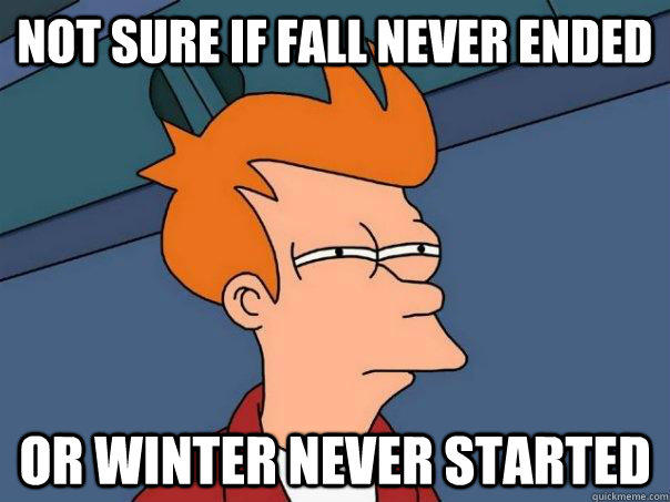 Not sure if fall never ended or winter never started - Not sure if fall never ended or winter never started  Futurama Fry