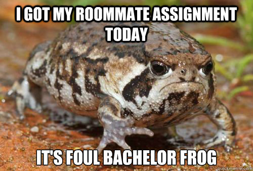 I got my roommate assignment today IT's foul bachelor frog