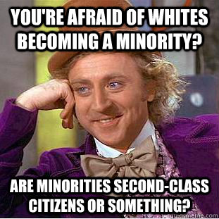 You're afraid of whites becoming a minority? Are minorities second-class citizens or something? - You're afraid of whites becoming a minority? Are minorities second-class citizens or something?  Condescending Wonka