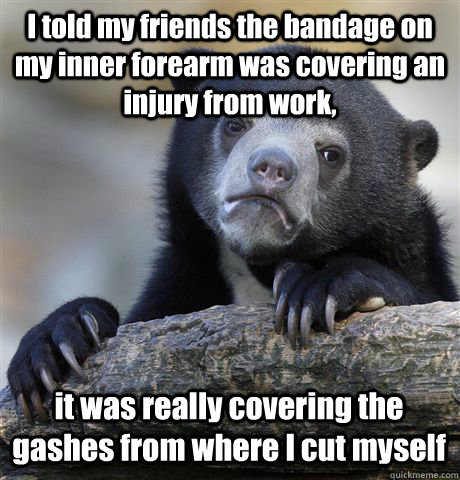 I told my friends the bandage on my inner forearm was covering an injury from work, it was really covering the gashes from where I cut myself  Confession Bear