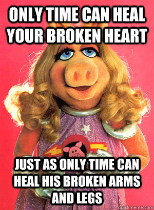 Only TIme can heal your broken heart just as only time can heal his broken arms and legs  Miss Piggy
