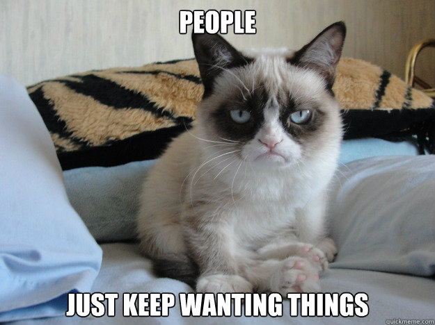 People Just keep wanting things  Grumpy cat in the morning
