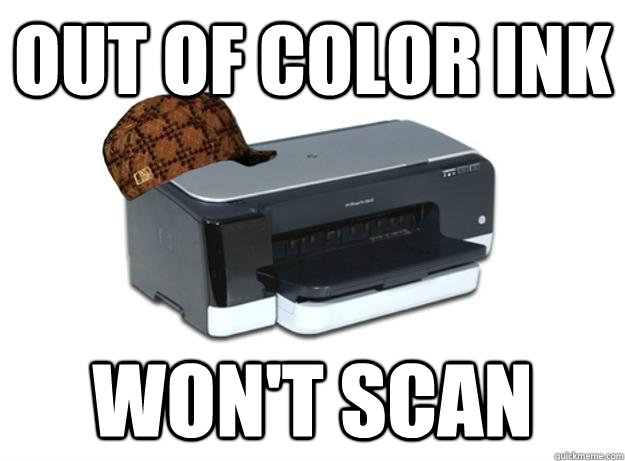Out of Color Ink Won't scan