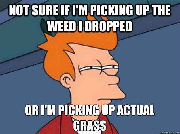 Not sure if I'm picking up the weed i dropped or i'm picking up actual grass
