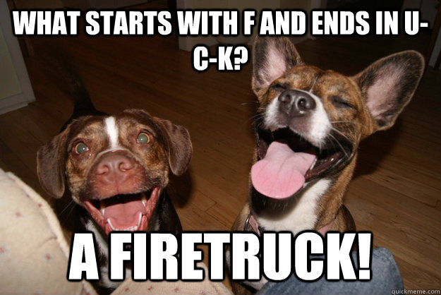 What starts with f and ends in u-c-k? A FIRETRUCK!  Clean Joke Puppies
