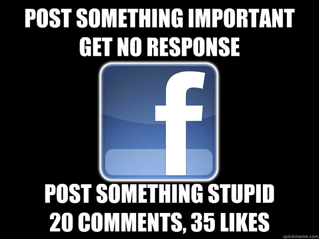 Post something important Get no response Post something stupid 20 comments, 35 likes - Post something important Get no response Post something stupid 20 comments, 35 likes  why I hate my facebook friends