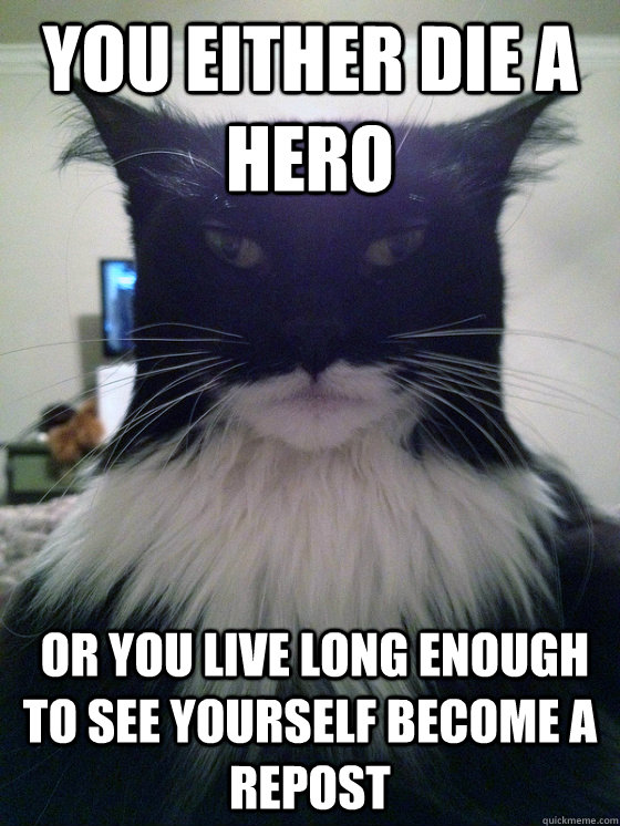 You either die a hero  or you live long enough to see yourself become a repost - You either die a hero  or you live long enough to see yourself become a repost  Catman