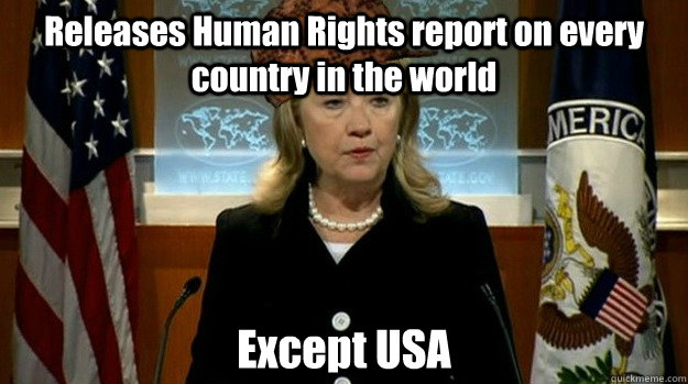Releases Human Rights report on every country in the world Except USA