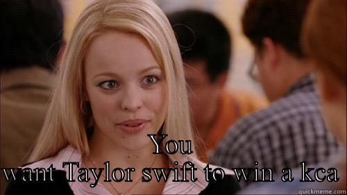SO YOU AGREE YOU WANT TAYLOR SWIFT TO WIN A KCA regina george