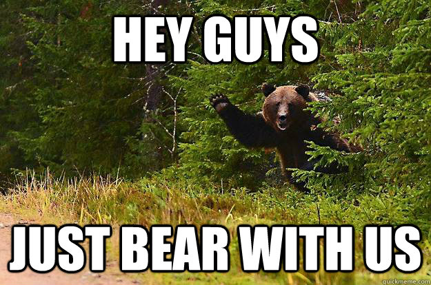 HEY GUYS JUST BEAR WITH US