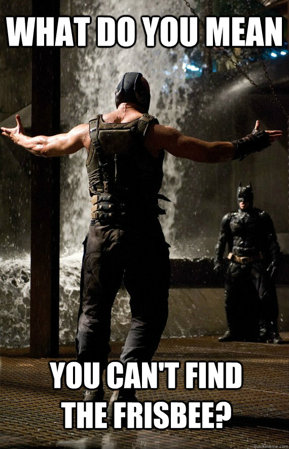 What do you mean you can't find the frisbee? - What do you mean you can't find the frisbee?  Bane Bro