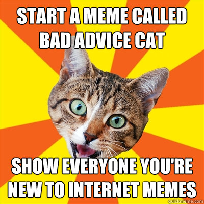start a meme called bad advice cat show everyone you're new to internet memes  Bad Advice Cat