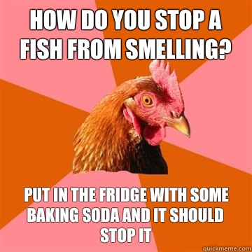 How do you stop a fish from smelling? Put in the fridge with some baking soda and it should stop it  Anti-Joke Chicken