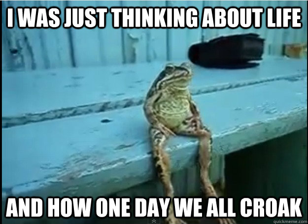 I was just thinking about life And how one day we all croak - I was just thinking about life And how one day we all croak  Misc