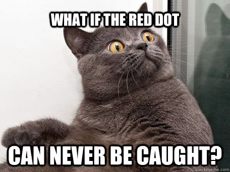 What if the red dot Can never be caught? - What if the red dot Can never be caught?  conspiracy cat