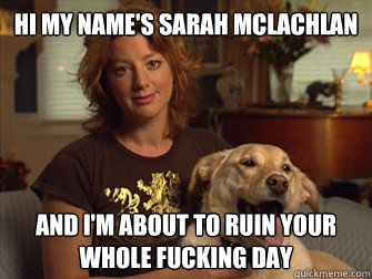Hi my name's Sarah Mclachlan And I'm about to ruin your whole fucking day