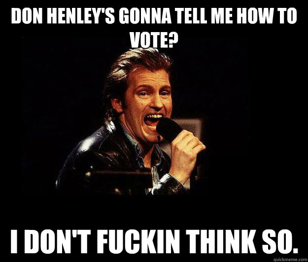 don henley's gonna tell me how to vote? i don't fuckin think so.