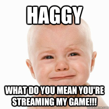 Haggy What do you mean you're streaming my game!!!