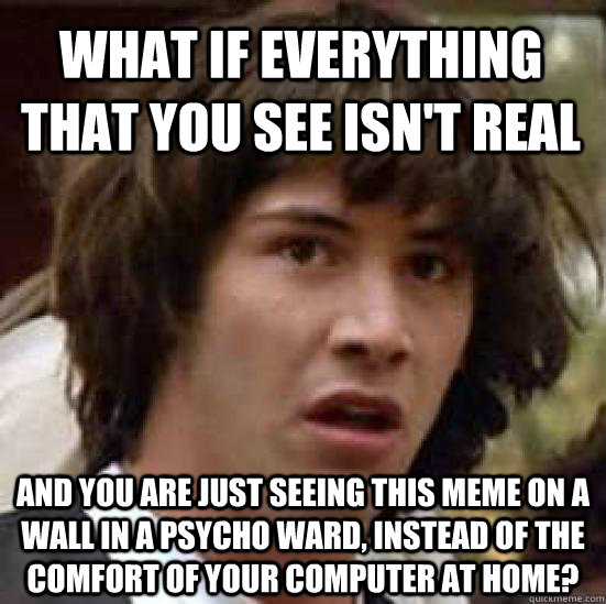 what if everything that you see isn't real and you are just seeing this meme on a wall in a psycho ward, instead of the comfort of your computer at home? - what if everything that you see isn't real and you are just seeing this meme on a wall in a psycho ward, instead of the comfort of your computer at home?  conspiracy keanu